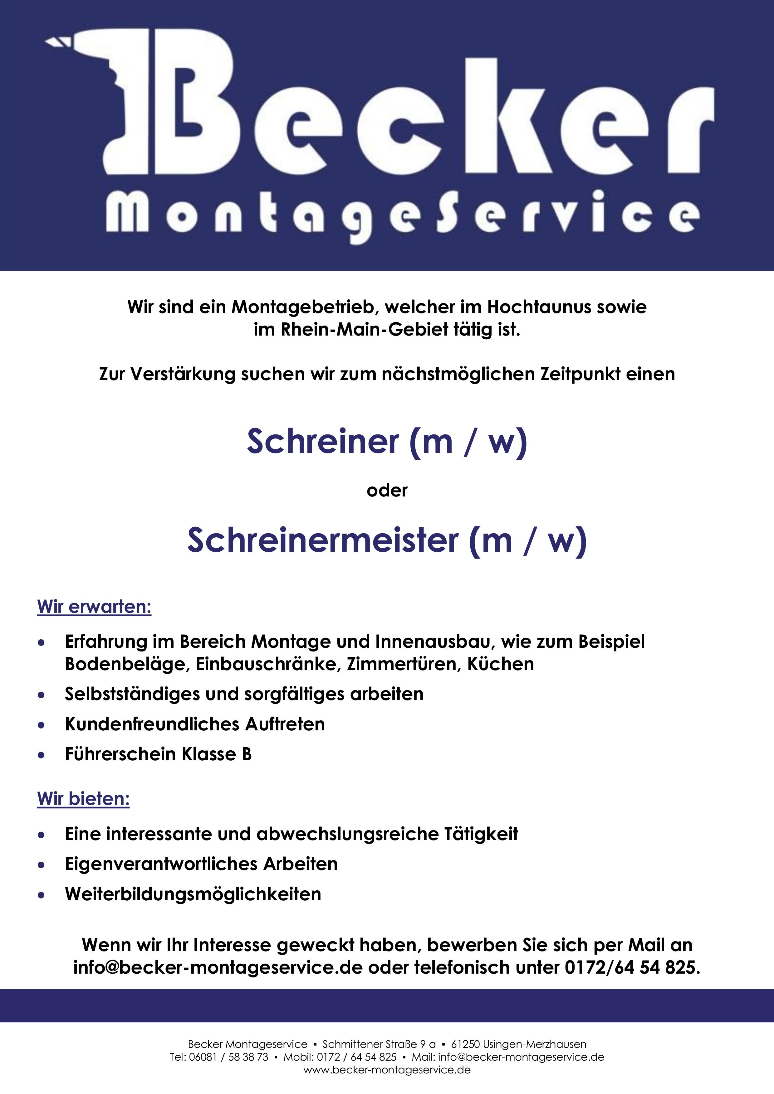 Stellenangebot: Wir suchen einen Schreiner oder Schreinermeister, KLICK für PDF